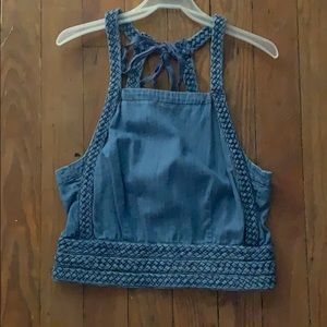 Maeve denim halter top